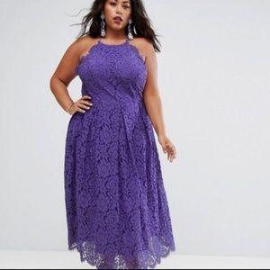 ASOS curve Lace Pinny Scallop Edge Midi Dress 18